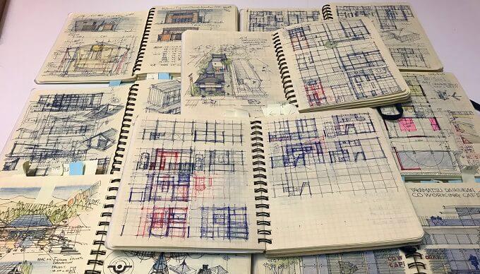 手書きの設計図とスケッチ