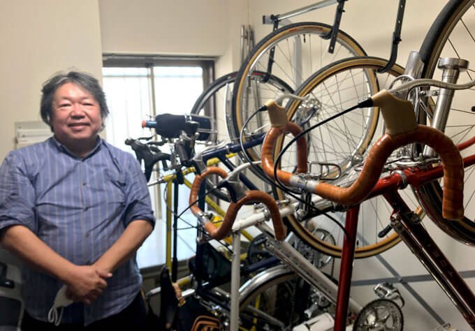 古里社長と自転車