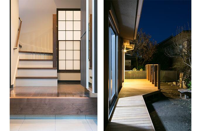 玄関、ウッドデッキのリフォーム例