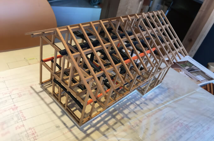 木造家屋の骨組みモデル