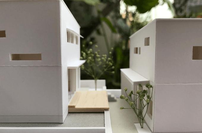 隣同士の家の模型