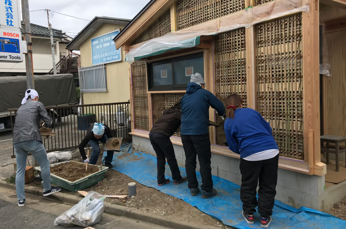 土壁塗りワークショップ