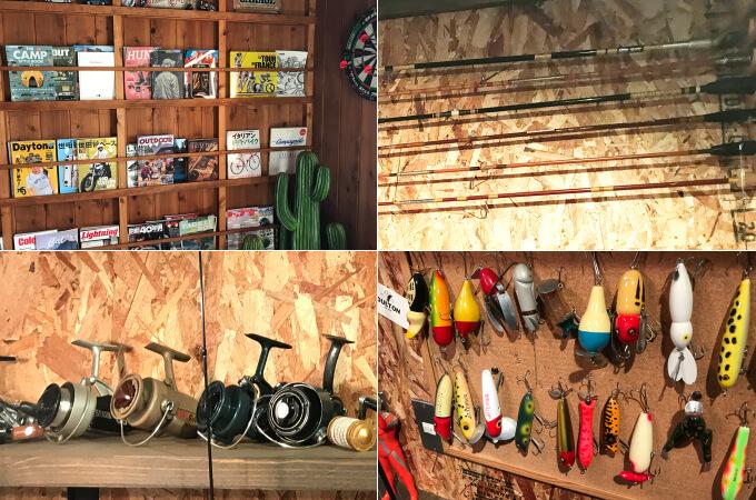 事務所に飾られた釣り道具