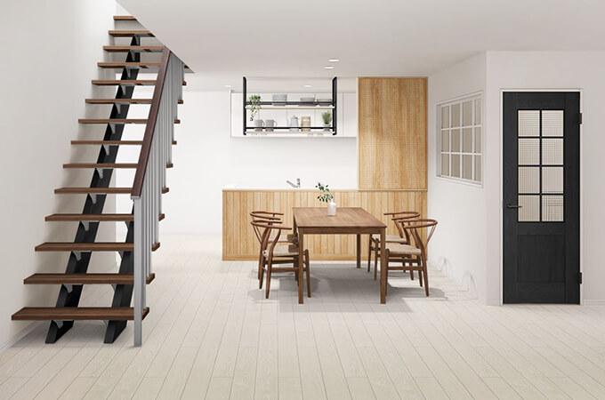白い床の家