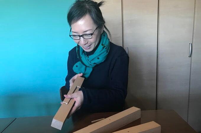 赤川さんと木組みの模型