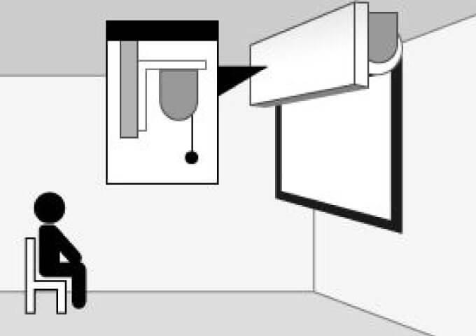 スクリーンを垂れ壁に設置