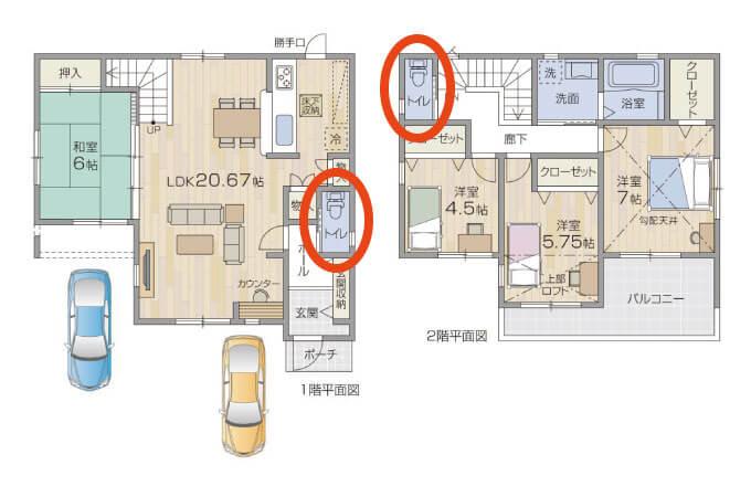 一階と二階にトイレが設置されている家の図面